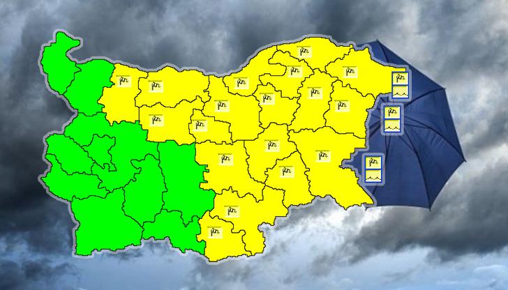 Жълт код в 18 области на страната