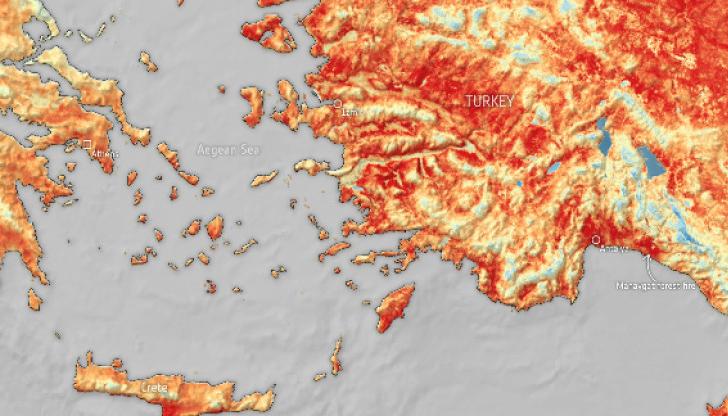 Над 50 градуса температура на земната повърхност в Турция и Кипър